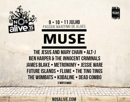 Affiche festival de musique Lisbonne - Portugal - Nos Alive 2015