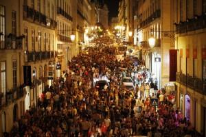 Lisbonne - quartier du Chiado lors d'un évènement nocturne