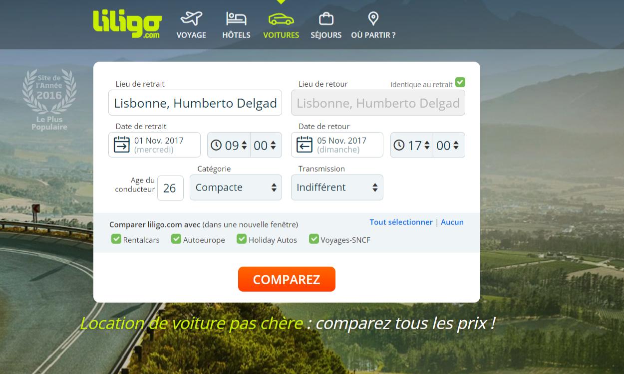 Capture ecran recherche location de voitures lisbonne avec liligo.com